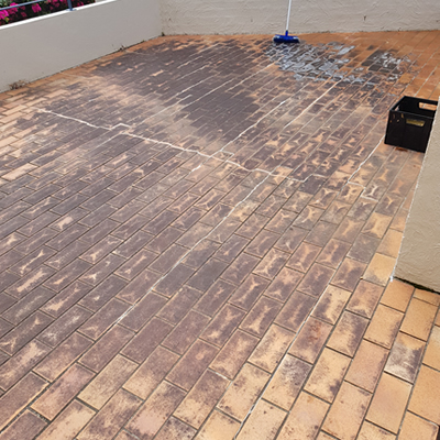 before backyard tiles